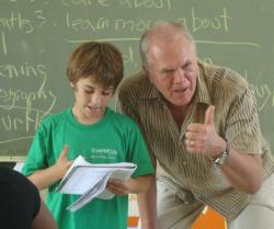 Good Hope fifth grader Robert Hunter's writing gets a thumbs up from author Steve Swinburne.