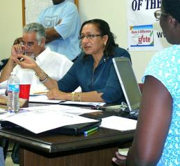 Zandra Petersen conducts the hearing in the Elections conference room.