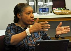 The EDA's Jennifer Nugent-Hill questions Innovative officials Thursday.