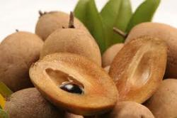 Sapodilla cut and whole.