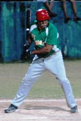 Raymond Cintron at bat for the Hurricanes.