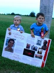 Brady and Chase Parks carried signs in Tuesday's Red Ribbon Week march on St. Croix.