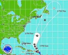 NOAA weather map shows the projected path of Tropical Storm Rafael.