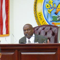 Sen. Carlton 'Ital' Dowe chairs Friday's Finance Committee meeting.
