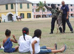 Children watch as VIPD K-9 Instructor Jason Viveros apprehends a fugitive with his dog, Luca, during a demonstration at the National Park Services family fun day.