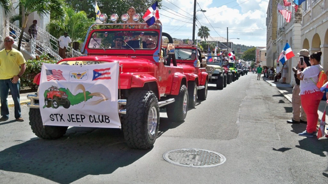 Jeeps parade through Christiansted as part of the Dominican culture parade.