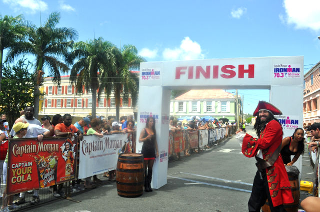 At the 2014 Ironman, Diageo's Captain Morgan character waits at the finish line to cheer home the athletes.
