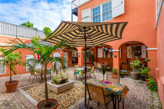 The courtyard at the Renuatum Spa is a colorful dining area for the Island Fresh Cafe.