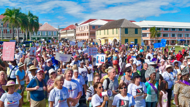 Hundreds gather in front of the gazebo on Christiansted's waterfront to take part in the Women's March.