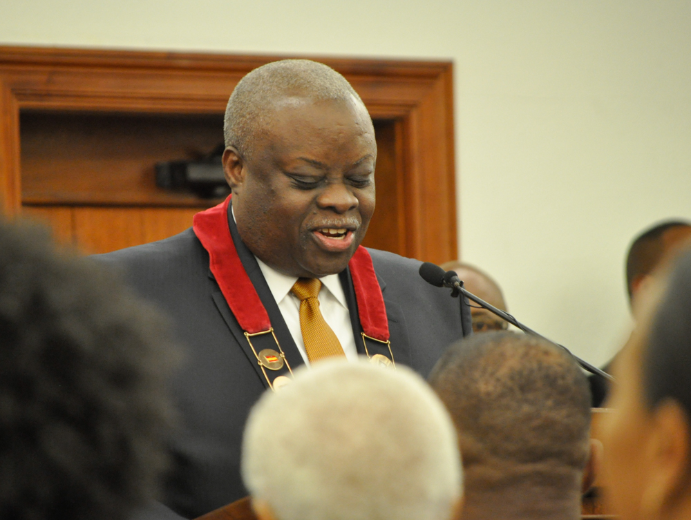 Gov. Kenneth E. Mapp delivers his second State of the Territory speech Monday. (David Knight Jr. photo)