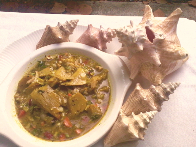 Curried conch, as Juliana Sheridan prepares it.