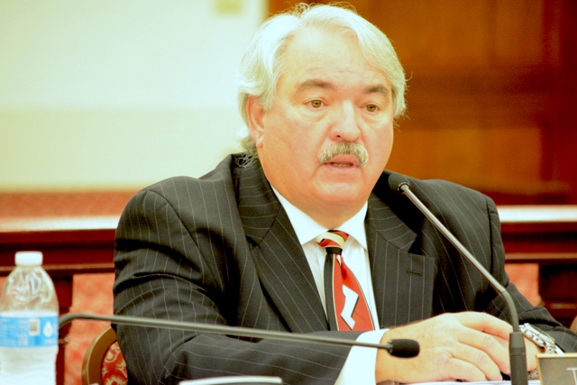 Superior Court Michael Dunston at budget hearings in 2015. (Photo provided by the V,I, Legislature)