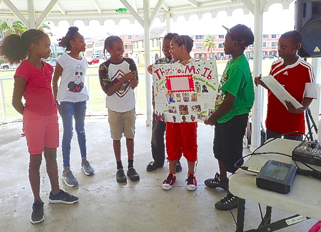 Project Promise students thank teachers on the last day of summer camp. (Susan Ellis photo)