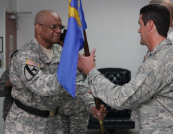 Maj. Gen. Renaldo Rivera (left) hands command of the 285th Civil Engineering Squadron to Lt. Col. Chad Warren.