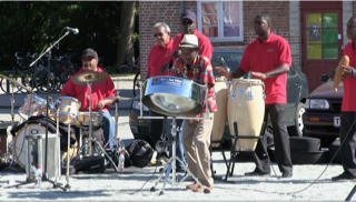 steel pan virtuoso Kevin William Jr. and band