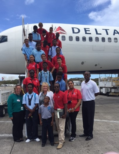 Junior Achievement students arrive at Cyril E. King Airport to 'job shadow.'