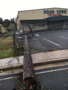 A utility pole lies in teh Food Town parking lot after being knocked over by Hurricane Irma. (Marina Ricci photo)