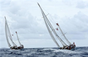 Royal Danish Navy training ships Thyra and Svanen race through Virgin Islands waters in the St. Thomas International Regatta. (Photo © STIR/Dean Barnes)