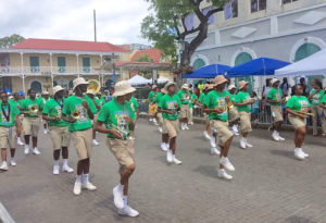 Charlotte Amalie High School's Marching Hawks was the first band on the parade route Friday.