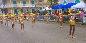The St. Croix Majorettes lit up the route with their bright costumes.
