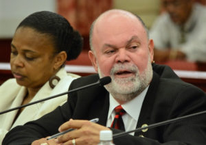 BMV Director Lawrence Olive testifies at an earlier Senate hearing. (Photo by Barry Leerdam, provided by the V.I. Legislature)