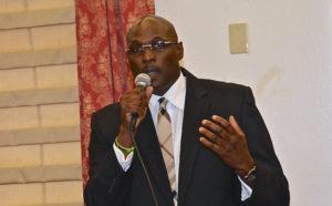 Sen. Novelle Francis speaks at Wednesday's session (photo by Barry Leerdam courtesy of the V.I. Legislature)