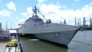 USS Gabriel Giffords moored in the Port of Galveston, Texas (U.S. Navy photo)