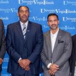 From left, UVI President David Hall, new men's basketball coach Jeff Jones, UVI Athletic Director Wilberto Ramos and UVI soccer coach Charles Long. (Photo © Aisha-Zakiya Boyd)