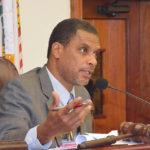 Sen. Kurt Vialet chairs Wednesday's hearing the Senate Finance Committee. (Photo by Onaje Simmonds, Legislature of the Virgin Islands 2017 Summer Intern)