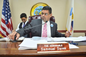 Sen. Sammuel Sanes chairs Friday's meeting of the Senate's Committee on Government Affairs, Veterans, Energy and Environmental Protection.