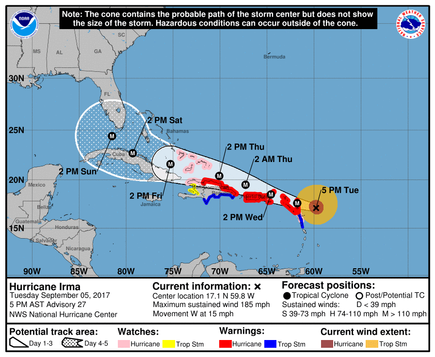 Irma Packing 185 Mph Winds Through Region St Croix Source