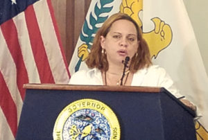 Labor Commissioner Catherine A. Hendry speaks at Government House Monday. (Jamie Leonard photo)