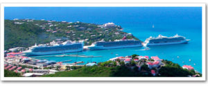 Cruise ships docked at St. Thomas, Virgin Islands in July, two months before Hurricanes Irma and Maria changed so much in the territory.