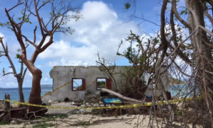 The Danish warehouse at Cinnamon Bay was undercut and washed away by Hurricane Irma.