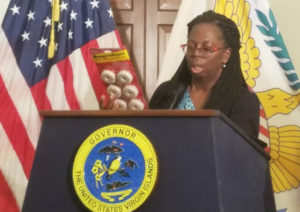 Commissioner of Health Michelle Davis speaks Saturday at Gov. Kenneth Mapp's daily news update. (Jamie Leonard photo)