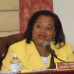 Sen. Janette Millin Young at a Sept. 1 Rules and Judiciary Committee meeting. (V.I. Legislature photo by Barry Leerdam)