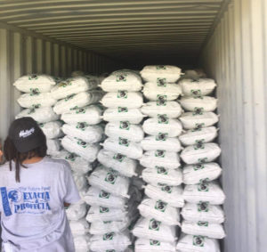Supplies are loaded in Florida for shipment to the USVI and Puerto Rico. (Photo by Finish Line Feed)