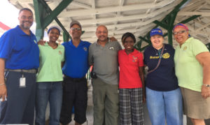 From left, Rotary member Dave Beck, Rotary Club St. Croix President Beverly Hermon, Rotary Club Mid-Isle President Willard John, Assistant Governor for Rotary VI South Marcell Galiber, Rotary Club West President Jennell Bryan, Rotary Area Coordinator for Public Image, Liz Goggins and former Rotary Club St. Croix President Sandra Gerrard Leyung.