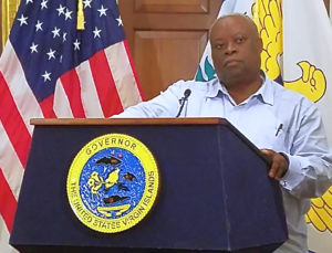 Gov. Kenneth Mapp speaks at a news conference in October. (Jamie Leonard photo)
