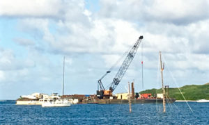 Vessels are salvaged in Salt River Bay.