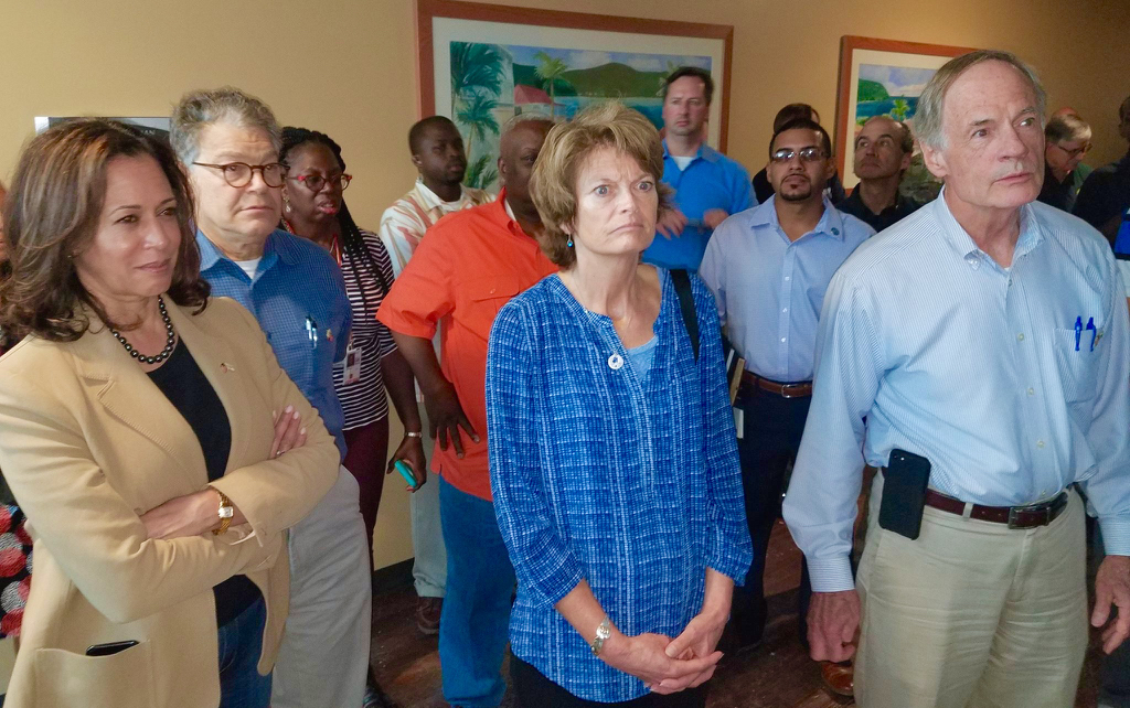 From left: Sen. Kamala Harris, Sen. Al Franken, Sen. Lisa Murkowski and Sen. Tom Carper and other representatives from the United States Congress spent Sunday afternoon with Gov. Kenneth E. Mapp on a tour of severely damaged areas throughout St. Thomas, including the Tutu High Rise housing projects and Schneider Regional Medical Center. (Government House photo)