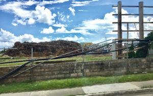A big debris pile near Addelita Cancryn Junior High School on St. Thomas.