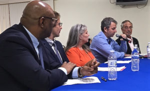From left, Dr. Anthony Ricketts, Dr. Jan Tawakol, Tracey Sanders, Dr. Jeffrey Chase and Attorney Frederick Handleman testify before the Health Committee Wednesday.