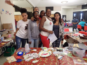Members of University Bound helped children make a variety of Christmas ornaments.