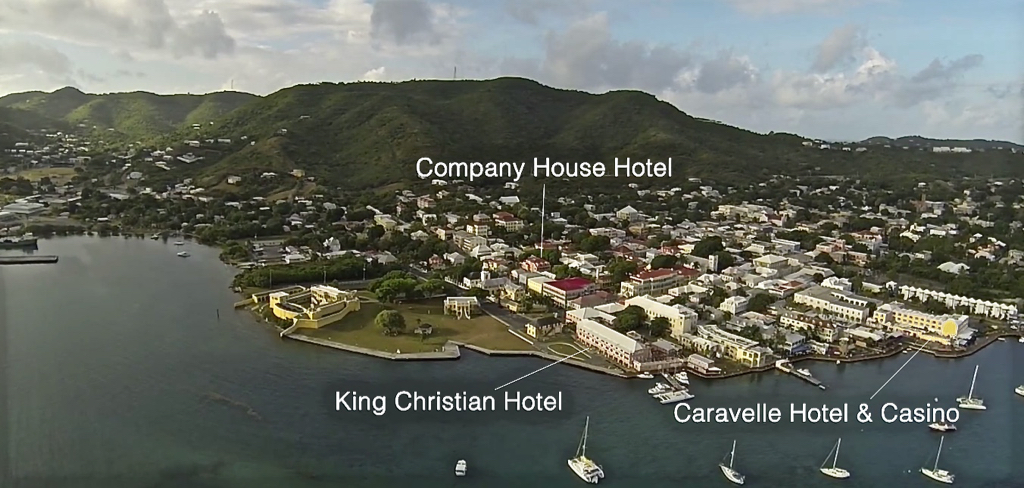 A view of Christiansted shows the Caravelle, King Christian and Company House hotels marked. (Image provided by VIGL)
