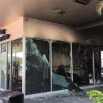 Firebomb damage at Nisky Center recruiting station Feb. 28.