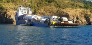 Coast Guard crews respond to the grounding of the Ocean Spirit I Tuesday morning off the entrance of the East Gregory Channel of Charlotte Amalie Harbor in St. Thomas.