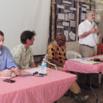 FEMA's Michael Foley, USDOI Guy Hughes, Senate President Myron Jackson, Richard Kurin of the Smithsonian Institution and, Sonia Jacobs Dow, St. Croix Landmarks Society, discuss hurricane recovery.