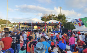 Crowds jam Canegeta Ballpark Sunday as revelers celebrate Dominican independence.