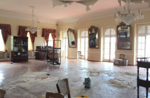 A storm-ravaged Government House as photographed by St. Thomas visitor Eddie Eitches, who posted the photo to social media after entering the building in January.